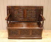 Late Victorian Solid Carved Oak Monks Bench (2 of 12)