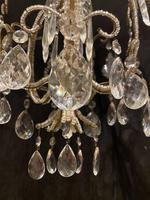 One Light Small Antique Italian Beaded Chandelier (6 of 11)