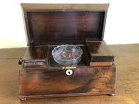 Large Rosewood William IV Sarcophagus Style English Tea Caddy (6 of 6)