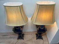 Pair of French Large Rams Heavy Bronze Blue Ceramic Table Lamps (42 of 46)