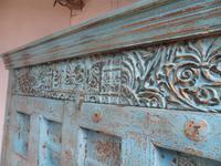 Handmade Indian Mango & Teak Large Painted Sky Blue 2 Door Storage Cupboard (6 of 13)