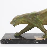 Large French Art Deco Patinated Spelter Prowling Panther on Marble Base c1925 (2 of 9)