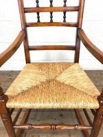 19th Century Rush Seat Rocking Armchair (6 of 9)