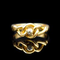 Antique Old Cut Diamond Lovers Knot 18ct 18k Yellow Gold Ring Band (6 of 10)
