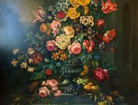 Dutch 18thc Manner RARE Huge Pair Vintage Fruit Floral Still Life Oil Paintings (18 of 23)