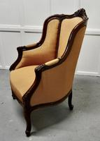French Carved Walnut & Salon Chair, Upholstered in Silk (9 of 10)