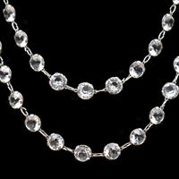"""Art Deco French Paste Long Silver Guard Chain Necklace 38"""" Antique (2 of 9)"""