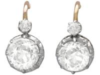 2.40ct Diamond & 18ct Yellow Gold Drop Earrings - French Antique c.1900