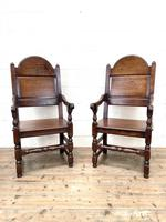 Pair of Antique Oak Throne Chairs (2 of 13)