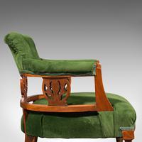 Antique Tub Chair, English, Velvet, Mahogany, Elbow, Seat, Edwardian c.1910 (9 of 12)