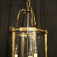 French Gilded Bronze Convex Antique Hall Lantern (3 of 10)