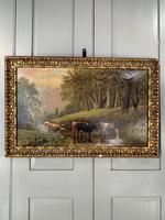 Antique 19th Century British River Landscape Oil Painting of Cows Cattle Signed JD Morris '1 of 2' (2 of 10)