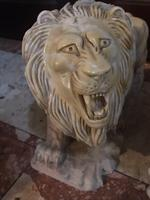 Pair Fine Early 20th Century Art Deco Italian Marble Male & Female Rampant Lions Sculptures (5 of 11)
