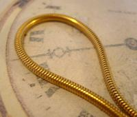 Vintage Pocket Watch Chain 1970s 12ct Gold Plated Snake Link Albert & T Bar (5 of 9)
