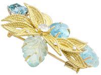 12.5ct Aquamarine & 0.62ct Diamond, 18ct Yellow Gold Brooch - Vintage c.1960 (4 of 9)