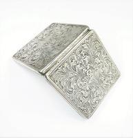 Italian Silver Bright Cut Compact Mirror 1950s (2 of 9)