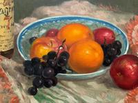 Exceptional Original Vintage Still Life of Fruit & Wine French Oil Painting (9 of 12)