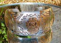 Rare Stunning Art Deco Solid Silver & 18k Gold Shield Mounted Bracelet / Bangle (5 of 8)