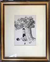 Original pen and ink 'A book illustration' by Hector Macdonald Sutton. 1903-95. Initialed. c.1955. Framed (2 of 2)