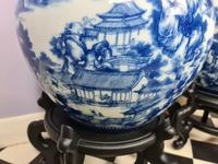Huge Pair of 20th Century Chinese Blue & White Vases (8 of 9)