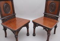 Near Pair of 19th Century Carved Oak Gothic Hall Chairs (8 of 12)