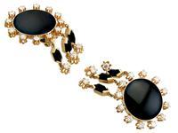 1.40ct Diamond & Onyx, 14ct Yellow Gold Drop Earrings - Art Deco Style - Vintage c.1950 (2 of 9)
