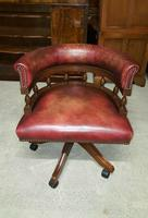 Antique Design Mahogany Red Leather Captains Chair (3 of 5)