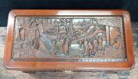 Oriental Carved Teak & Camphor Wood Chest - 1930s (3 of 15)