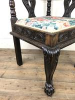 Victorian Carved Oak Corner Chair with Floral Upholstery (4 of 9)