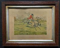 Set of Six 19thc Oak framed Humorous Coloured Sporting Hunting Engraving's (10 of 14)