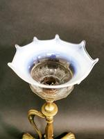 Art Nouveau Brass Lamp with Glass Shade (3 of 6)