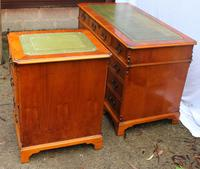 1960s Yew Wood Pedestal Desk with Green Leather Top + Matching Filing Cabinet (2 of 5)