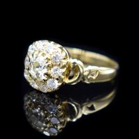 Antique Victorian Old Cut Diamond Cluster 18ct 18K Yellow Gold Ring 1.0ct total (4 of 9)