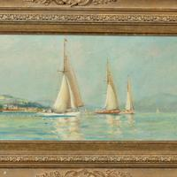 Pair of Oil Paintings of Clyde One Design Yachts Racing by Frank Henry Mason (8 of 12)