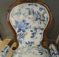 Victorian Walnut Armchair New Upholstery c.1860 (7 of 11)