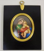 Antique Porcelain Plaque Madonna Della Segiola