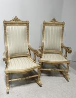 Pair of Regency Painted & Parcel Gilt Rocking Chairs (2 of 17)