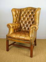 Superb Antique Buttoned Leather Wing Armchair (4 of 11)