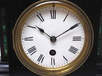 Amazing French Slate Mantel Clock Timepiece Mantle Clock with Machilite Inlay (8 of 11)