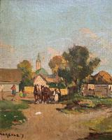 Josef Harencz Farmyard & Horses Landscape Oil Painting (4 of 10)