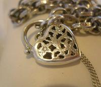 "Vintage Silver Bracelet 1970s Ornate Heart Padlock 7 1/2"" Length 13.3 Grams (7 of 11)"