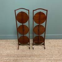 Unusual Pair of Antique Mahogany Folding Cake Stands (4 of 5)