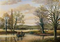 Fishing The River Ouse - Lovely Vintage North Yorkshire Riverscape Oil Painting (2 of 12)