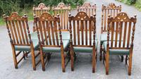 1960s Carved Oak Refectory Table with Set 8 Dining Chairs Green Upholstery (10 of 10)