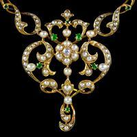 Antique Edwardian Pearl Diamond Green Garnet Lavaliere Necklace 15ct Gold c.1905 (4 of 8)
