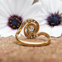 Antique French 18ct Gold Diamond Tourbillon Ring (5 of 7)