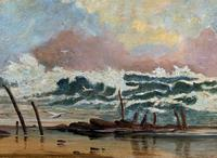Large Spectacular 19th Century British Seascape Oil Painting - Shipwreck in Rough Seas! (6 of 13)