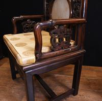 Pair Antique Chinese Armchairs Hardwood 19th Century Seat Chair (8 of 13)