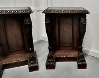 Pair of 19th Century Art Nouveau Gothic Carved Oak Console Pedestals (3 of 11)