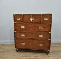 Antique Mahogany Campaign Military Chest Of Drawers